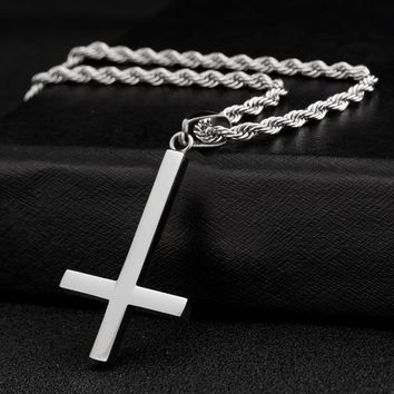 JS 2016 New Biker Titanium Inverted Cross Necklace Trendy Women Nacklace Male Steampunk Jewelry Accesories IC005