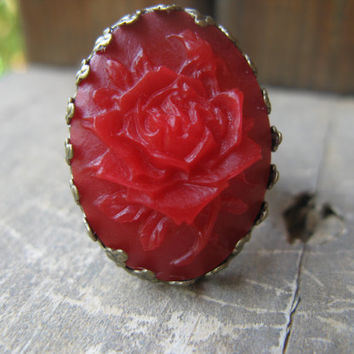 antique bronze cabochon ring,red cabochon ring,red resin cobochon ring