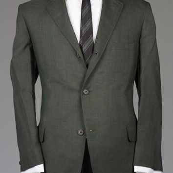 Vintage 50s Green Wool 3/2 Button Roll Suit 43 S Monkey Suit