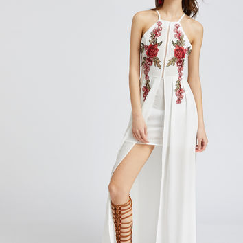 White Sleeveless Embroidered Crisscross Backless Split Dress