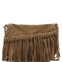 With Love From CA Suede Fringe Mini Crossbody Bag - Womens Handbags - Brown - NOSZ