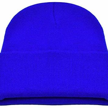 PZLE Men's Knit Hat Winter Caps For Men Blue Stocking Cap Flap Hats Royal Blue