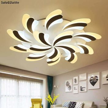 Modern Simple Plume Led Ceiling Chandeliers Lights Luminaria Lustre Acrylic Bedroom Dimmable Led Chandelier Lighting Fixtures