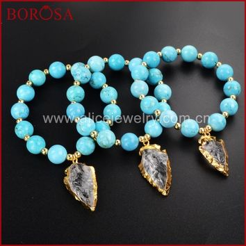 BOROSA Arrowhead Gold Color Rough Aura Quartz Druzy Crystal Bracelet With Blue Howlite Blue Stone Beads for Women G1169