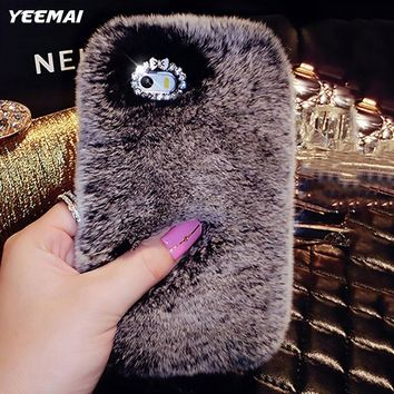 Luxury Genuine Rabbit Fur Warm Phone Case For iPhone 7 8 Plus Bling Diamond Cover For iPhone 6 6S Plus 5 5S SE Women Girl Couqe