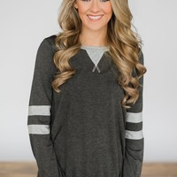 Addicted to You Long Sleeve Top - Charcoal