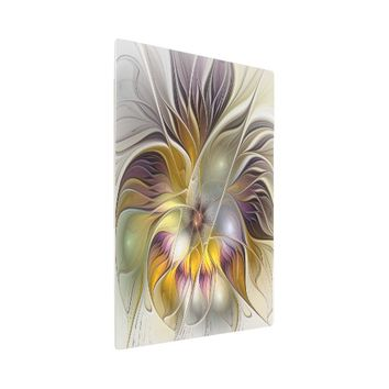 Abstract Colorful Fantasy Flower Modern Fractal Metal Photo Print