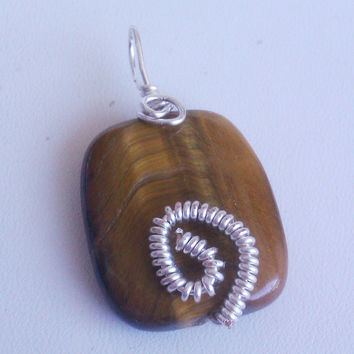 Handmade Genuine Tiger Eye Wire Wrapped Pendant // Sterling Silver with Copper Core // Unisex Jewelry // Men's Jewelry