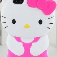 Neon Hot Pink White Black Yellow Hello Kitty Hair Bow Silicon Rubber Phone Case Cover
