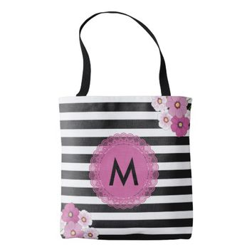 Monogram Pink Flowers Tote Bag for Mother's Day