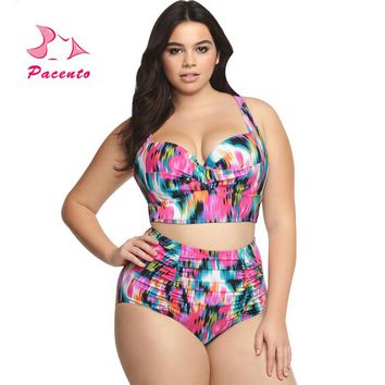 Push Up High Waist Bikini 2018 5XL 4XL 3XL Big Size Women Bathing Suit Print Swimsuit Retro Beachwear Large Size Swimwear Female