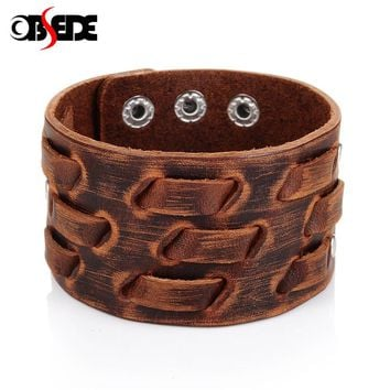 OBSEDE New Fashion Men Wide Leather Bracelet Brown Wide Cuff Bracelets & Bangles Wristband Vintage Punk Men Jewelry 3 Row Clasps