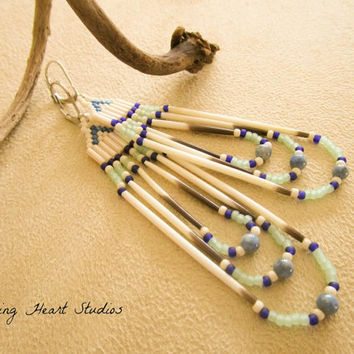 Navy Porcupine Quill earrings - mint green - blue lace agate stone beads