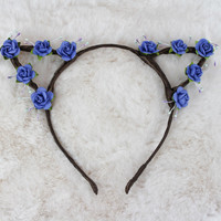 Periwinkle Roses Cat Ears Headband
