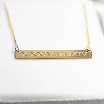 Solid Yellow Gold Engraved Bar Necklaces - 3 Sizes - 10k