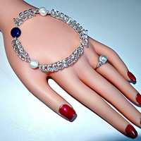 """Silver chainmail bracelet - fresh water pearls - lapis lazuli gemstone - toggle and bar closure - fits 6"""" and 7"""" size wrists"""