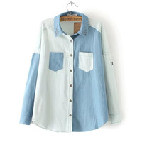 Sky Blue Lapel Collar Long Sleeves Washed Denim Tops