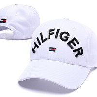 TOMMY HILFIGER New Summer Women Men Embroidery Sports Sun Hat Baseball Cap Hat White