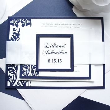 Navy Blue Damask Wedding Invitation - SAMPLE SET