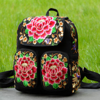 Canvas Ethnic Embroidered Backpack Travel Bag