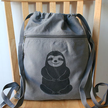 Sloth Screen Printed Canvas Backpack by catbirdcreatures on Etsy