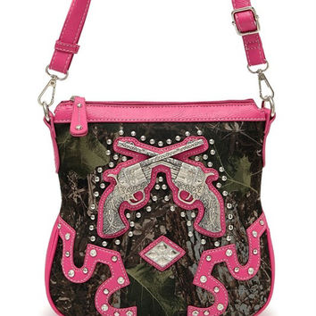 * Camouflage Print Gun And Studs Accented Cross Body Messenger Bag In Fuchsia
