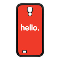 Hello Black Silicon Rubber Case for Galaxy S4 by textGuy