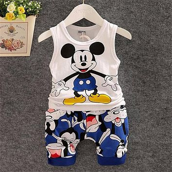 2016 New Cartoon Summer Baby Boy Clothing Set Tank Top + Shorts Kid Boy Summer Set Children Boy Clothes Set Sleeveless
