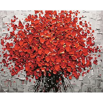 Frameless Red Flower Diy Digital Painting By Numbers Acrylic Paint Abstract Modern Wall Art Canvas Painting For Home Decor