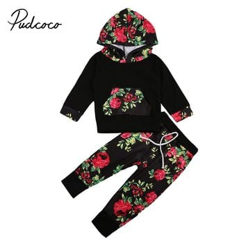 2017 Baby Girl Flower Winter Clothes Shirt Long Sleeve Cotton Tops+Pants Leggings Set Fall Cotton Girls Hoodie Toddler Clothing