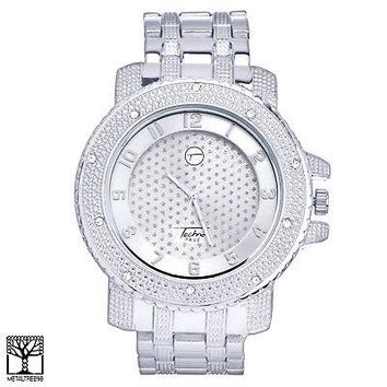 Jewelry Kay style Men's Bling Silver Plated Iced Out Fashion Metal Heavy Band Watch WM 6848 S