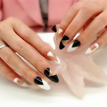 24pcs Simple Black White Mosaic False Nails Tips Black Transparent Stiletto Solid Long Fake Nails Holiday Summer Beach Arts
