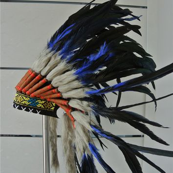 21inch royal blue Indian Feather headdress native american costumes halloween costumes indian war bonnet  feather hat