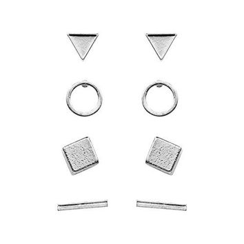 AUGUAU Geerier Simple Stud Earrings Set Geometric Triangle Bar Square Ring Earrings Gold Silver Color 4 Pairs