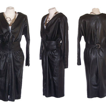 1980s Dress Vintage CARLO GABRIELLI Leather Dress M to L Free Domestic and Discounted International Shipping