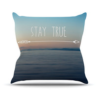 "Ann Barnes ""Stay True"" Coastal Typography Throw Pillow"
