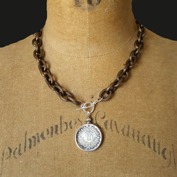Bronze Chunky Chain Vintage Style Silver Aztec Coin Pendant Necklace