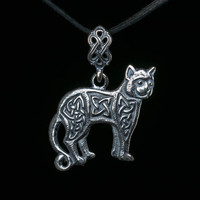 Celtic Cat Pendant, sterling silver, handmade ..... Celtic Knot