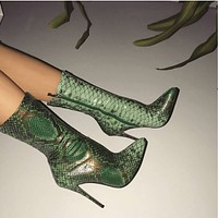 Snakeskin High Heel Pointed Toe Calf Boots