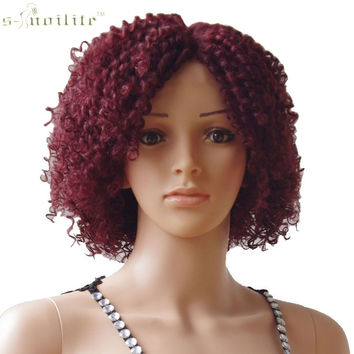 "4"" Lace Front Wig Synthetic Hair Full Head Wig Kinky Curly"