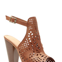 Tan Faux Leather Laser Cut Ankle Strap Chunky Heels