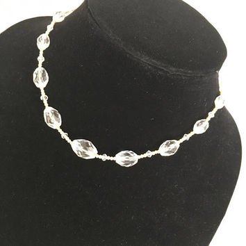 Vintage Art Deco Necklace with Clear Glass Beads, 1930s Era Choker
