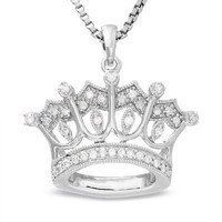 Sterling Silver Crown Pendant with Diamond Accents - View All Necklaces - Zales