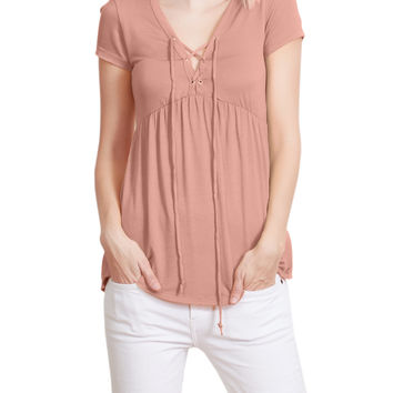 Flowy Lace Up Front Short Sleeve Jersey Top