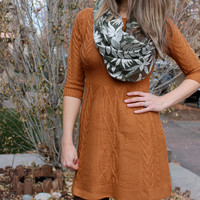 Camel Cable Knit Sweater Dress