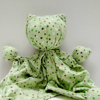 "Kitty Doll - Soft Kitty - Soothing Toy - Lovey Doll - Baby  Kitten - Unique Baby Gift - Sleepy Time Doll - 100% Cotton Flannel - 11-12"" tall"