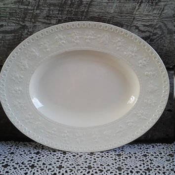 Antique Platter, Wedgwood Etruria, Embossed Fruit Border, White Ironstone, Oval, White Ironstone Platter, French Country, Farmhouse Decor