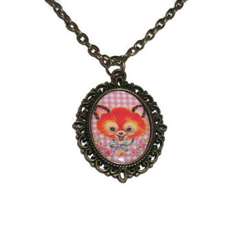 Baby Fox Cameo Necklace, Bronze, Vintage Animal, Pink Cute Kawaii Jewellery