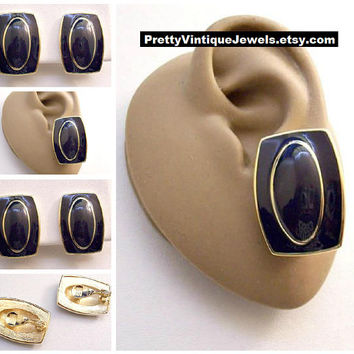 Monet Blue Square Picture Frame Clip On Earrings Gold Tone Vintage Dark Navy Oval Striped Center Accent Edge Florentine Brushed Backs