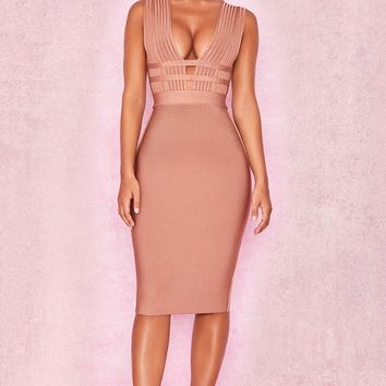 Light Brown Deep V Neck Sleeveless Bandage Dress